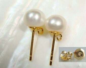 2 pcs, Pearl Ear Post, Ear Nuts Included, AAA 6.5-7mm Pearl, 18K Gold 925 Sterling Silver Genuine Creamy White Pearl Ear Stud with Open Loop
