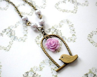 Flower Girl Gift Little Girl Necklace Lavender Bridesmaid Jewelry Pastel Children Necklace Girl Flower Necklace Rustic Bird Pendant