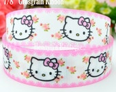 "4 yards: Hello Kitty Pink bows Character Cartoon Logo Brand Inspired Flowers White Grosgrain Ribbon 7/8"" inch wide. Gift Wrap. DIY Supplies."