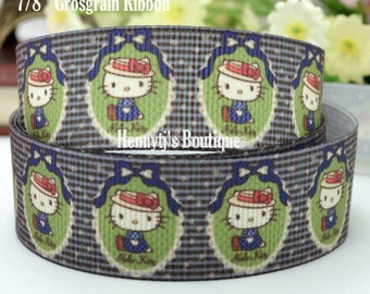 """4 yards: Hello Kitty in Old Style Red Hat Character Logo Brand Inspired Olive Navy Grosgrain Ribbon 7/8"""" inch wide. Gift Wrap. DIY Supplies."""