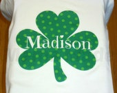 St. Patricks Day Polka Dot Green 3 leaf Clover St Patty's Shirt or Bodysuit Size Newborn 3 mo 6 mo 9 mo 18 mo 24 mo 2t 3t 4t 5 6 8 10 12