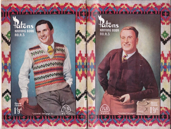 1940s Mens Knitting Patterns Book Patons R3 Fair isle sweaters ...