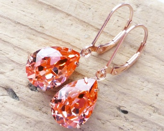 Peach Rose Gold Earrings, Swarovski Crystal Rhinestone Pear, 14K Rose Gold Leverbacks, Rose Gold Jewelry, Crystal Rhinestones, Rose Peach