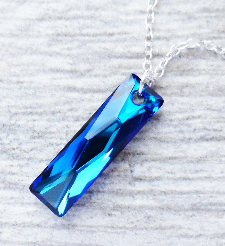 Bermuda blue crystal necklace swarovski rectangle pendant zoom aloadofball Images