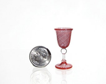 Burgundy Striped Miniature Wine Goblet, Hand Blown Glass