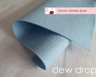Wool Felt 1 yard cut - Dew Drop - pale blue wool blend felt