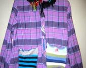 Sale Purple Flannel shirt jacket with wild collar fits XL