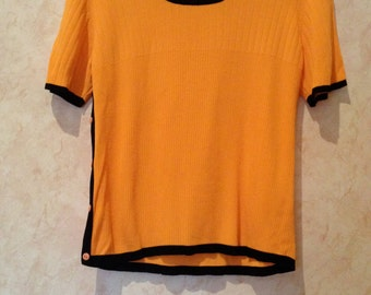 90s Bright Orange Ribbed Buttons Short Sleeve Scoop Neck Shirt