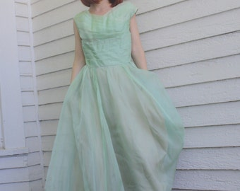 Vintage 50s Green Prom Dress Gown Party Formal 34 Bust S