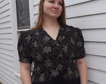 40s Leaf Print Blouse Black Sheer Vintage 1940s Short Sleeve XL Plus