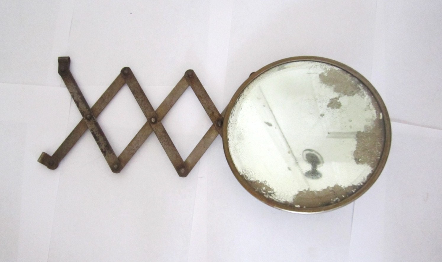 antique wall mount make up or shaving scissor mirror. Black Bedroom Furniture Sets. Home Design Ideas