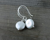Coin Pearl Earrings, Classic Coin Pearl Earrings on Sterling Silver