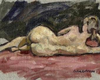 Figure Painting, Reclining Female Nude. Original 6x9 Oil Painting on Canvas, Classic Oil Sketch
