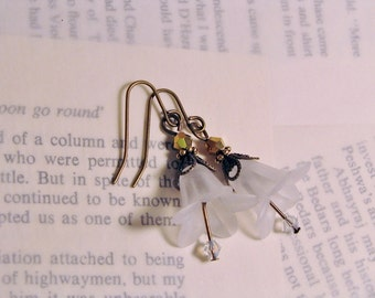 White Frost Trumpet Flower French Wire Earrings Romantic Victorian Antique Inspired Jewelry
