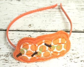 Pumpkin Headband,Christmas Embroidered Felt Slider, Orange Headband, Girls Headband