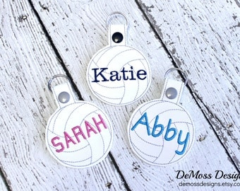 Personalized Volleyball Keychain, Bag Tag, Monogrammed, Custom Made, Vinyl, with Snap