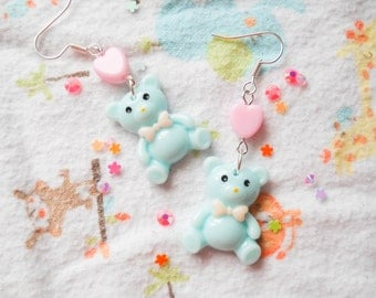 Cute Teddy Bear Earrings, Kawaii Earrings, Baby Kei, Sweet Lolita, Teddy Bear, Kawaii, Cute, Pastel