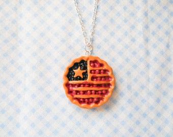 American Pie Necklace, Pie Necklace, Food Necklace, Kawaii Necklace, Dessert Necklace, American Flag, July 4th, Cherry Pie, Blueberry Pie