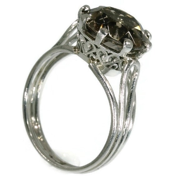 Vintage smoky stone engagement ring platinum made in France ref.09091-4136
