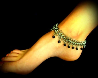 Anklet - Antique Silver Chainmaille  & Pearls - you choose the color
