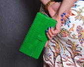 Green clutch made entirely of LEGO bricks FREE SHIPPING