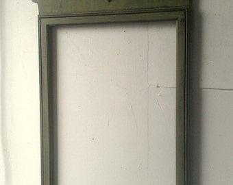 Large Vintage Wood Frame in Distressed Avocado 36 by 20 Inches, Boys Nursery, Mid Century Modern, French Provincial, Country Cottage