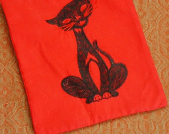 Vintage 60s-70s Black Cat Pot Holder Wall Hanging Retro Mod Mid Century