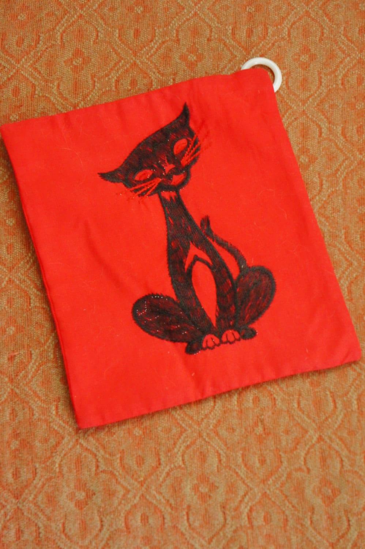Vintage 60s 70s Black Cat Pot Holder Wall Hanging Retro Mod