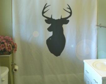 stag head Shower Curtain wall mount antler deer hunting trophy kill point bathroom decor kids bath curtains custom size long wide waterproof
