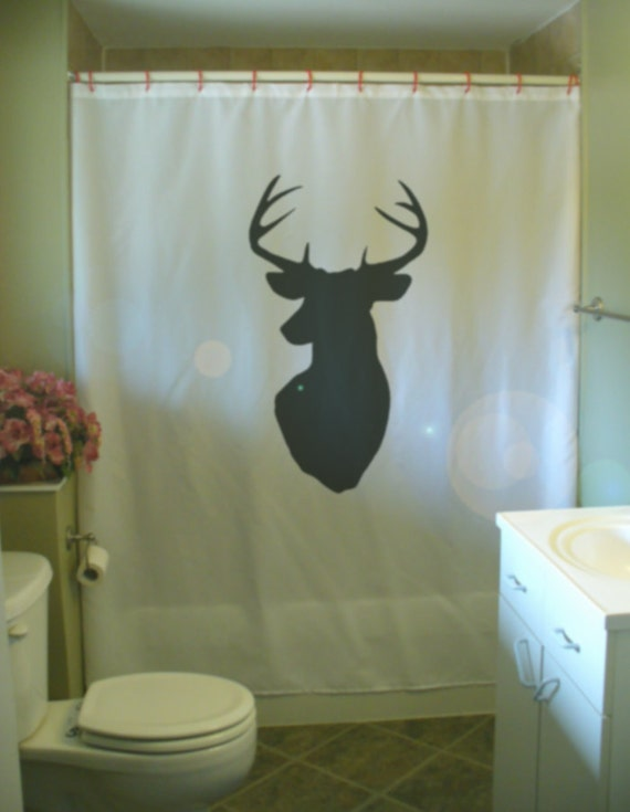 Stag Head Shower Curtain Wall Mount Antler Deer Hunting Trophy