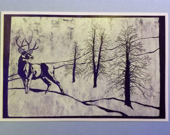 5 Deer Cards on Light Blue