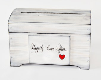 Medium Rustic Card Box with card slot Happily Ever After Heart Plaque