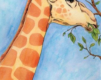 GIRAFFE Animal Illustration Giclée Print, Varying Sizes Available