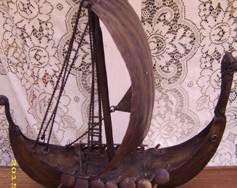 Vintage Hand Crafted Forged Metal Sailing Ship Boat