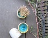 Tiny Cup Toothpick Holder or Shot Glass Porcelain Ceramic Textured Aqua Blue Green White Brown Handmade Artisan Pottery by Licia Lucas Pfadt