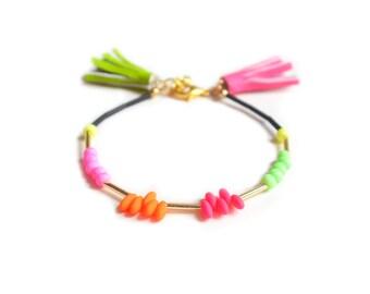 Neon Beaded Friendship Bracelet, Neon Green and Hot Pink Leather Tassel Bracelet, Minimal Bracelet, Stacking Bracelet, Layering Bracelet