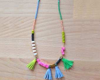 Beaded Tassel Necklace, Pink Marble Necklace, Turquoise, Peach and Green Bead Jewelry, Long Necklace, Geometric Brass Jewelry