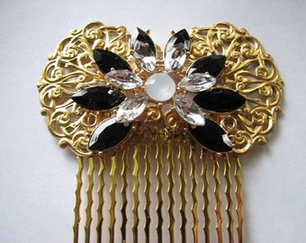 Flower hair comb | gold hairpiece | brass filigree | art nouveau