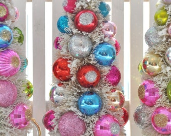 British Bottle Brush Tree Kitsch Vintage Inspired Christmas Easter bottlebrush glass ornaments garland KiTschy Union Jack TeaPot Love