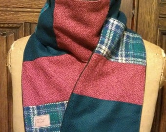 tweed wool scarf in aqua blues and berry red