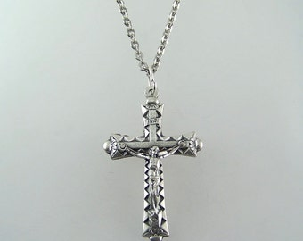 Diamond Pattern Crucifix Necklace Your Choice of Chain