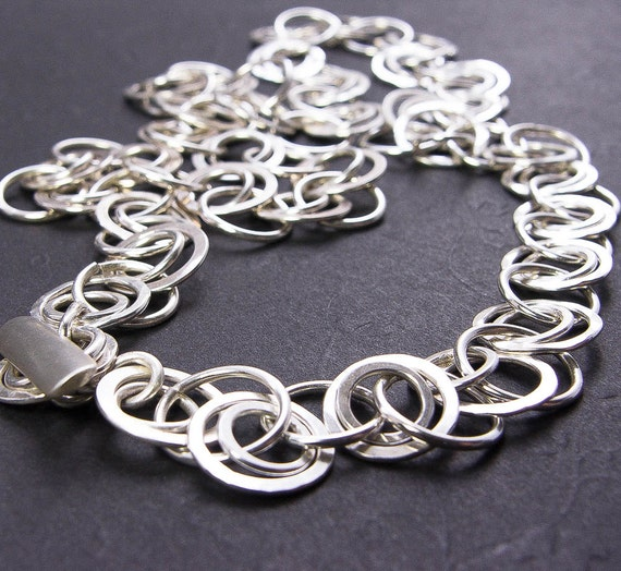 Forged Link Chains : Silver chain link necklace hand forged