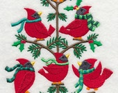 Cardinals in a Tree (Tweet) Embroidered on WHITE Kitchen, Hand Towel or Quilt Block Square