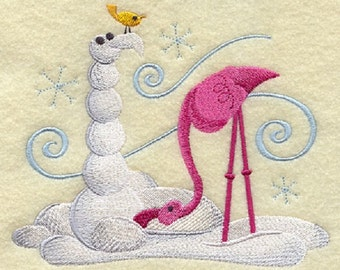 Build-a-Snowpal Flamingo Embroidered White Towel or Quilt Block Square, SO CUTE