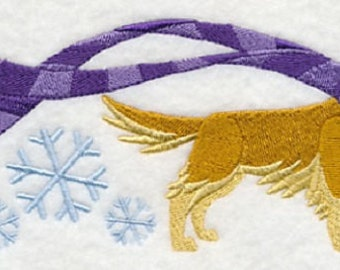 Wrapped Up in Winter Golden Retriever Embroidered Cotton Towel or Quilt Block Square