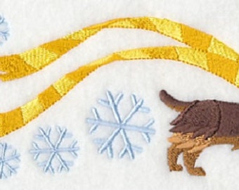 Wrapped Up in Winter Yorkie Embroidered Cotton Towel or Quilt Block Square