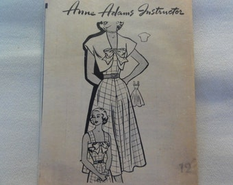 1950s SunDress, Full Skirt, Bolero Jacket, Fit & Flare Dress- UNUSED Vintage Anne Adams Mail Order Sewing Pattern 4949- Size 12 Bust 30