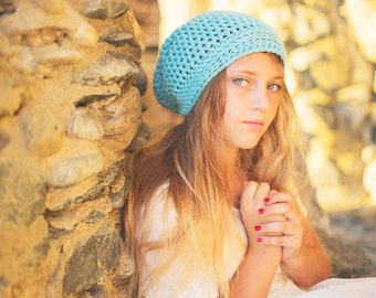 Crochet Toddler Hats, Aqua Slouchy Beanie in Merino Wool, Girl's Beanie, Crochet Slouch Hat, 12 Months to Adult (Reese)
