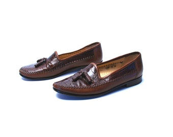 Genuine Crocodile ZELLI Loafers with Tassels, Made in Italy, Men's Designer Shoes, Size 9 Men's