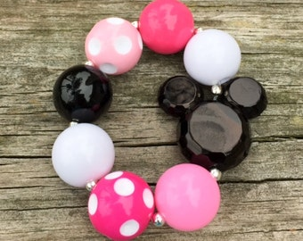 Pink Minnie Mouse Chunky Bracelet, Girls Bracelet, Chunky Jewelry, Chunky Bubblegum Necklaces, Photo Props, Chunky Necklace, Minnie Bracelet
